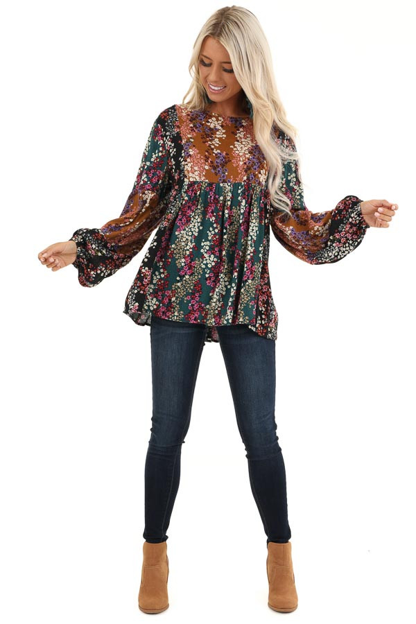 Ginger and Pine Multi Color Floral Long Sleeve Top front full body