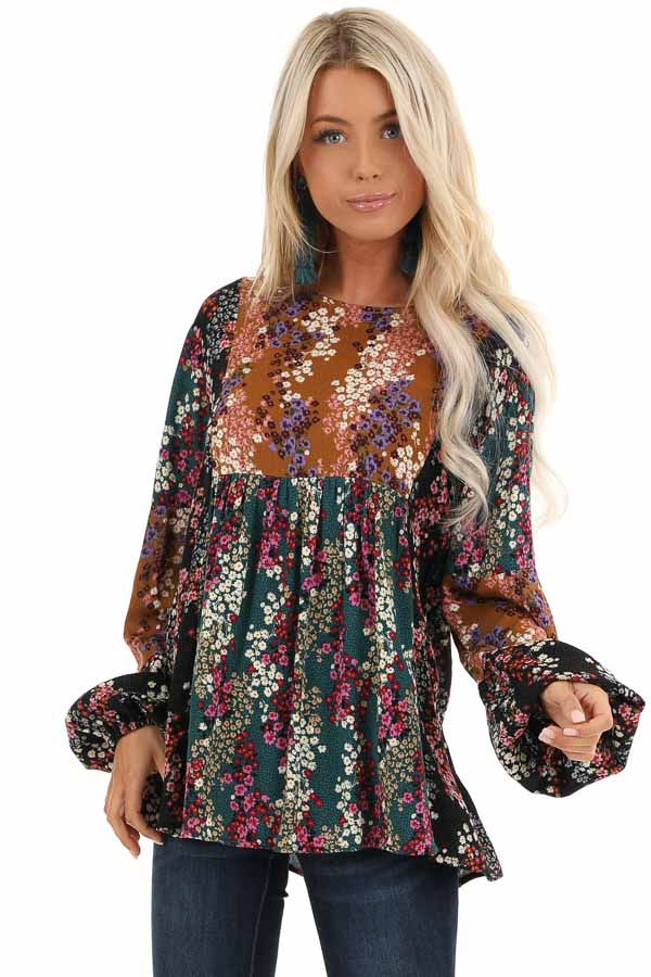 Ginger and Pine Multi Color Floral Long Sleeve Top front close up