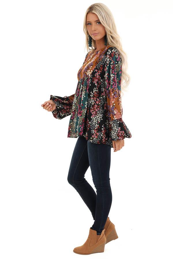 Ginger and Pine Multi Color Floral Long Sleeve Top side full body