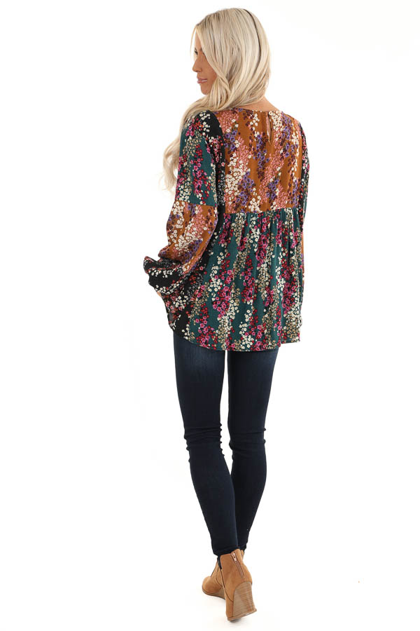 Ginger and Pine Multi Color Floral Long Sleeve Top back full body