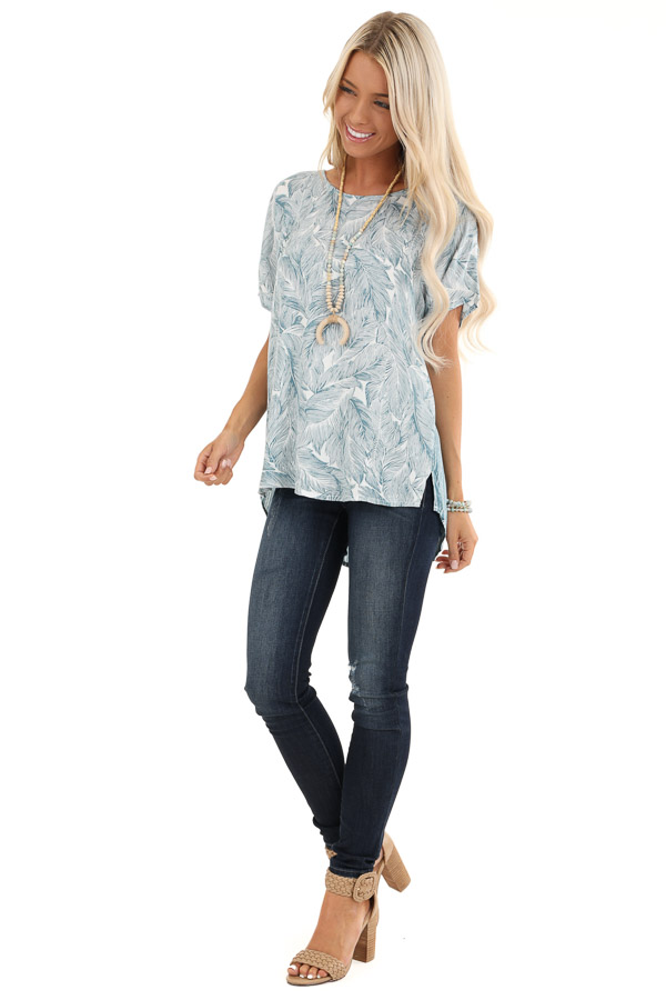 Steel Blue Feather Print Top with Button Up Back front full body