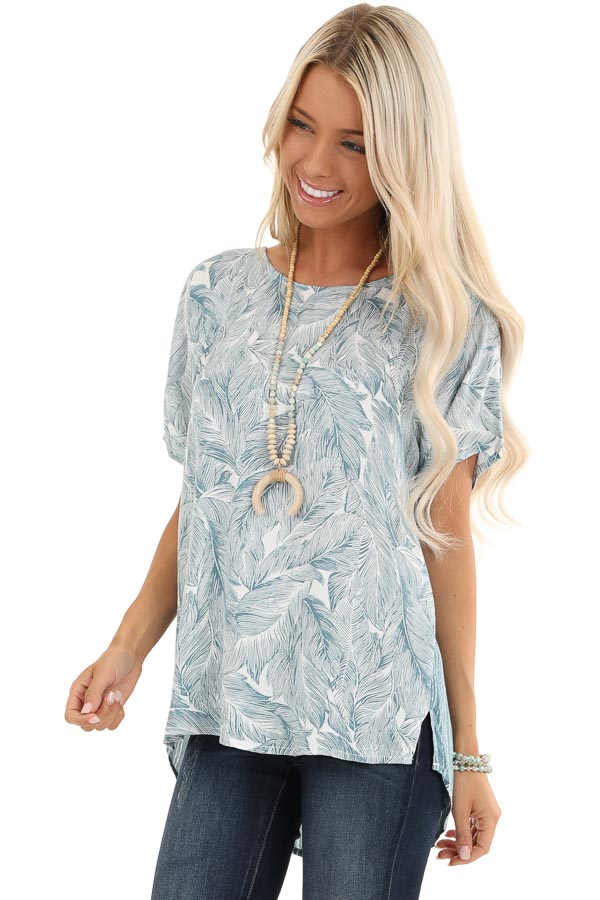 Steel Blue Feather Print Top with Button Up Back front close up