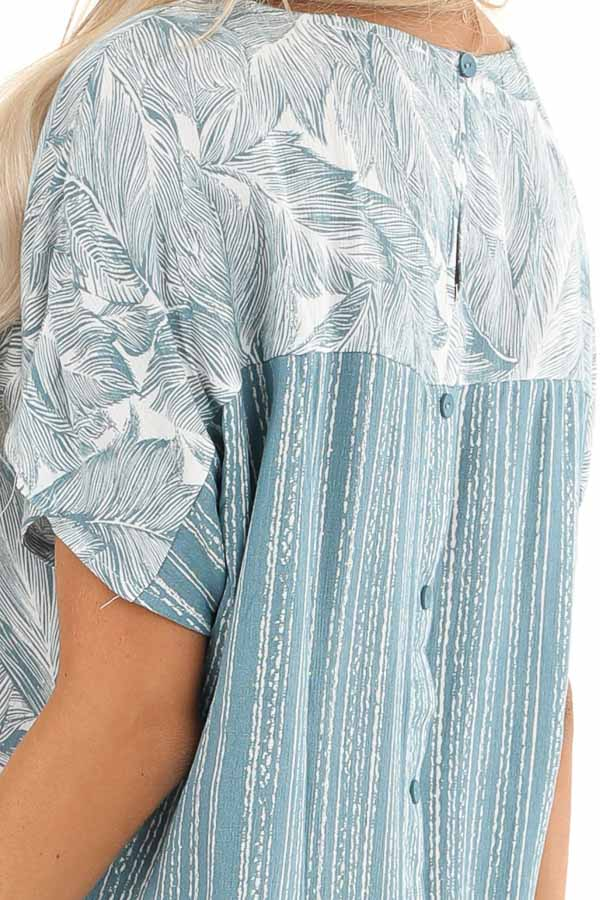 Steel Blue Feather Print Top with Button Up Back detail