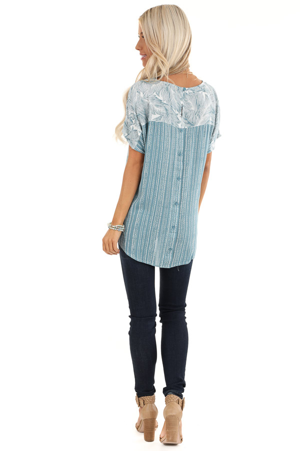 Steel Blue Feather Print Top with Button Up Back back full body