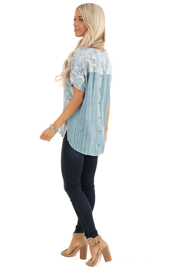 Steel Blue Feather Print Top with Button Up Back back side full body