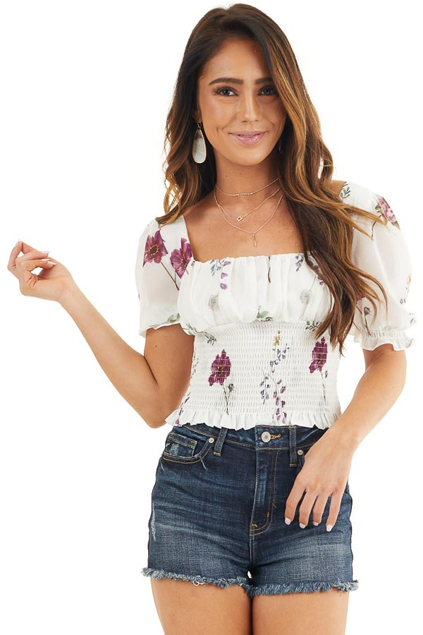 Daisy White Floral Print Puff Sleeve Top with Smocked Detail front close up