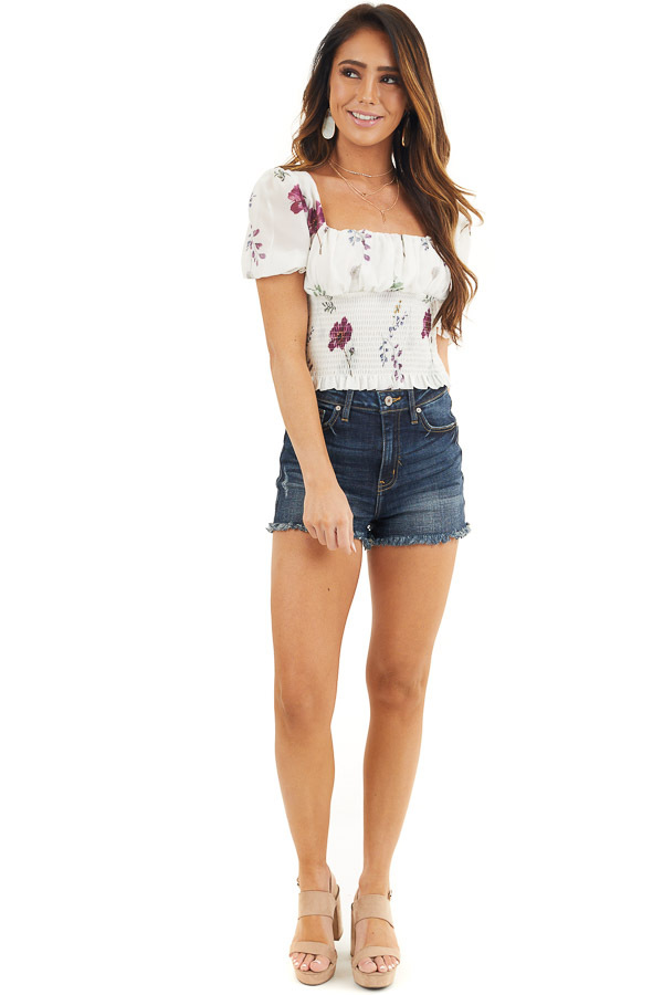 Daisy White Floral Print Puff Sleeve Top with Smocked Detail front full body