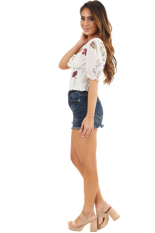 Daisy White Floral Print Puff Sleeve Top with Smocked Detail side full body
