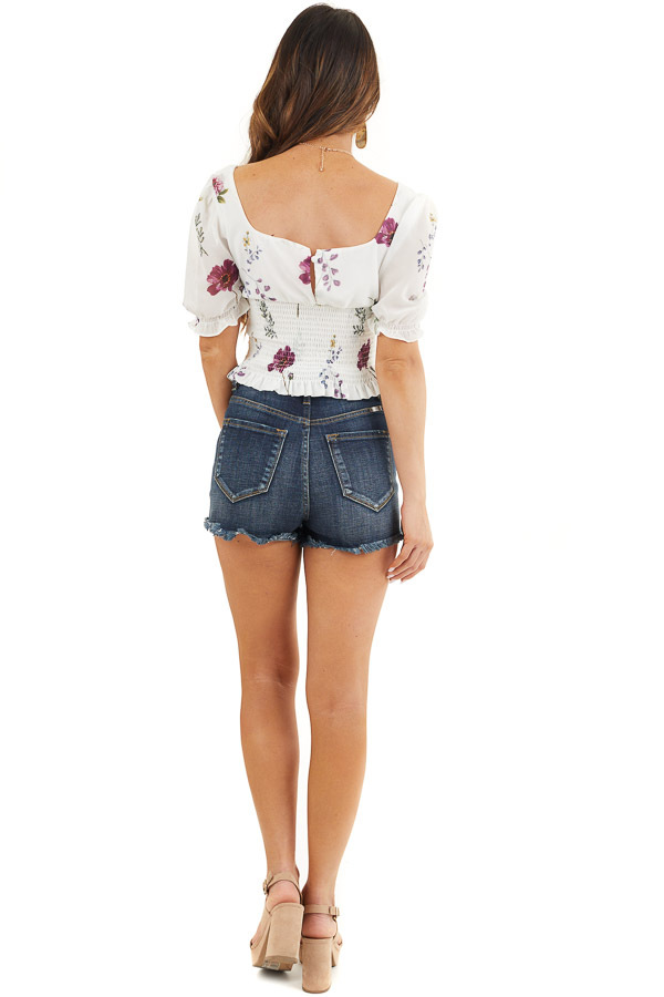Daisy White Floral Print Puff Sleeve Top with Smocked Detail back full body