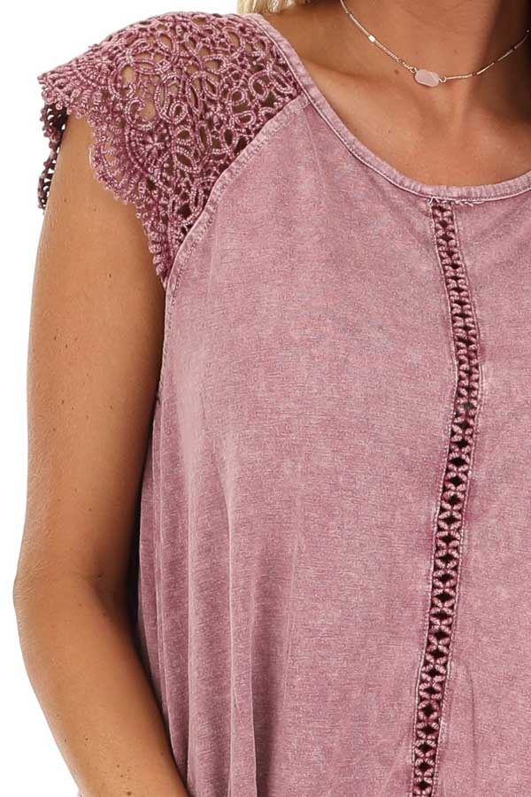 Mauve Mineral Wash Top with Lace Cap Sleeves detail