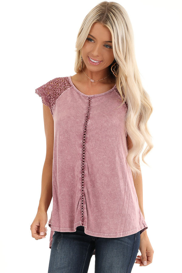Mauve Mineral Wash Top with Lace Cap Sleeves front close up