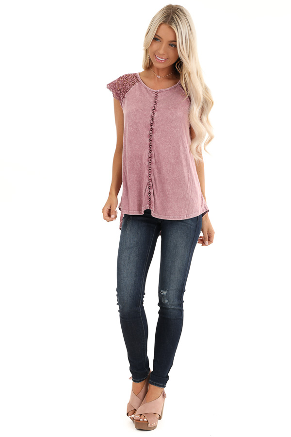 Mauve Mineral Wash Top with Lace Cap Sleeves front full body