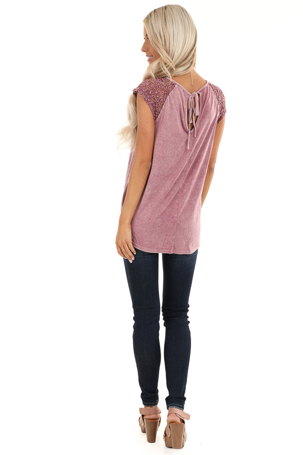 Mauve Mineral Wash Top with Lace Cap Sleeves back full body