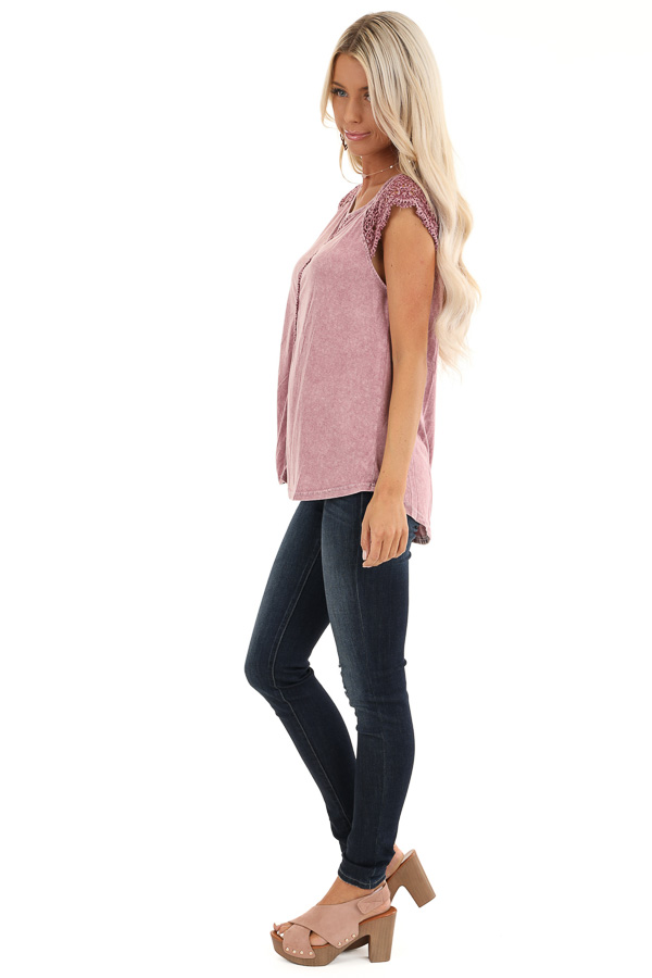 Mauve Mineral Wash Top with Lace Cap Sleeves side full body