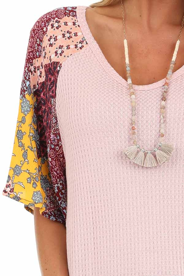 Baby Pink Waffle Knit Top with Multicolor Patchwork Sleeves detail