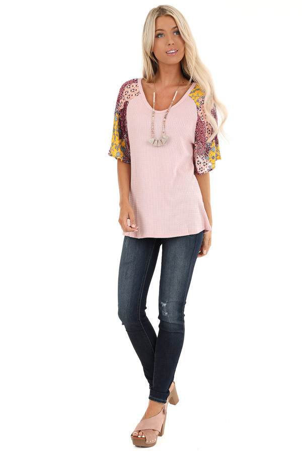 Baby Pink Waffle Knit Top with Multicolor Patchwork Sleeves front full body