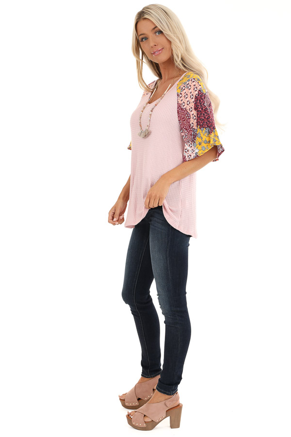 Baby Pink Waffle Knit Top with Multicolor Patchwork Sleeves side full body