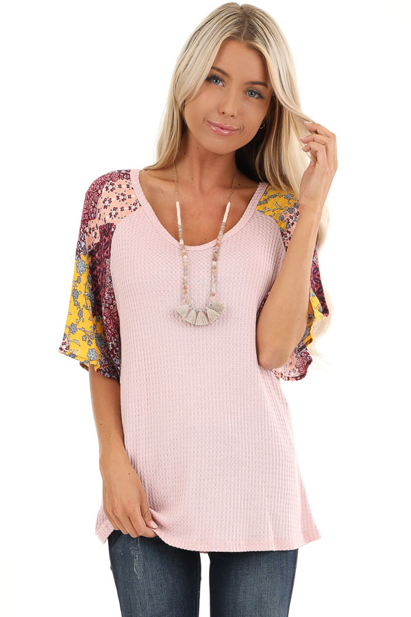 Baby Pink Waffle Knit Top with Multicolor Patchwork Sleeves front close up