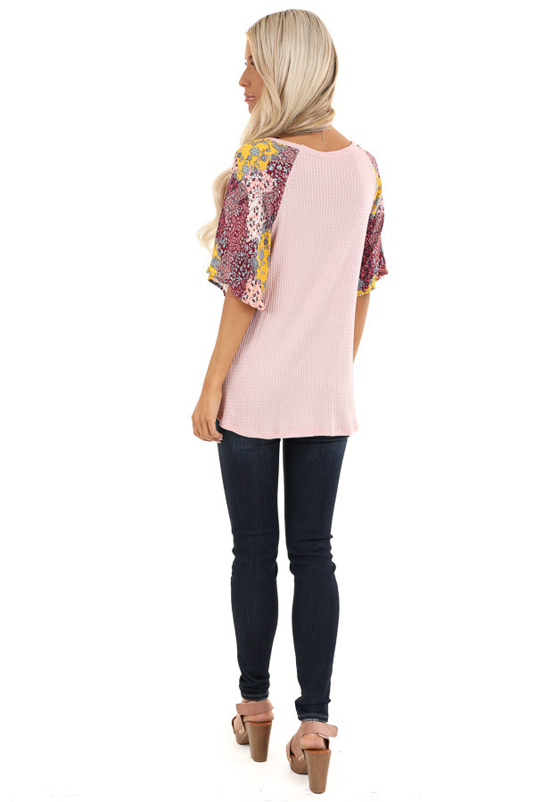 Baby Pink Waffle Knit Top with Multicolor Patchwork Sleeves back full body
