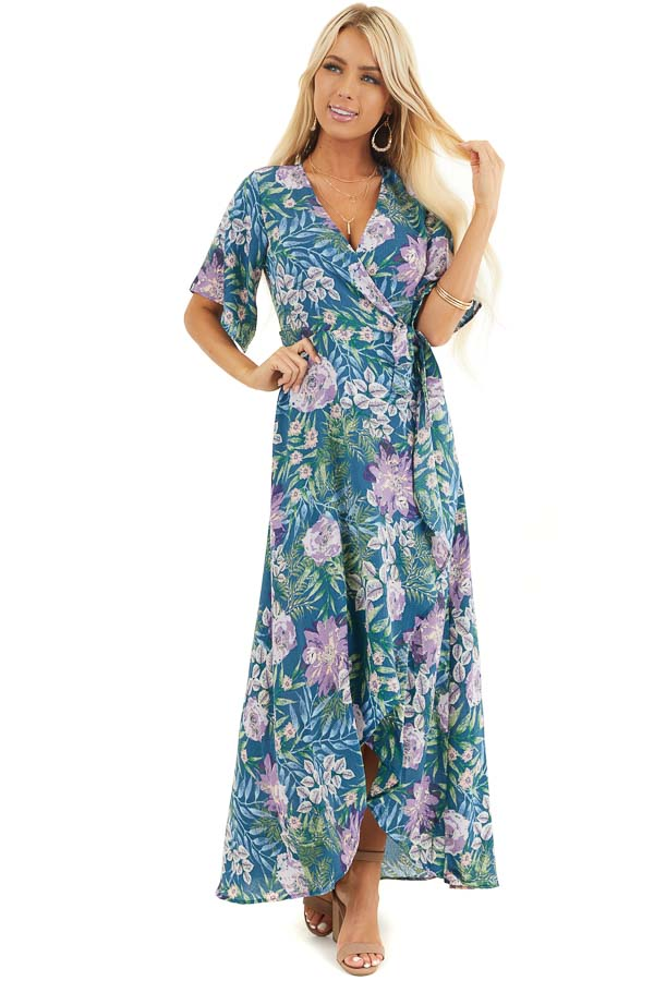 Dark Teal Floral Print Midi High Low Wrap Dress front full body