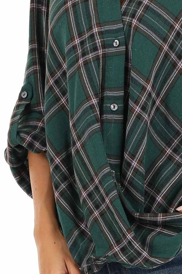 Forest Green Button Up Plaid Flannel with Twisted Hemline detail