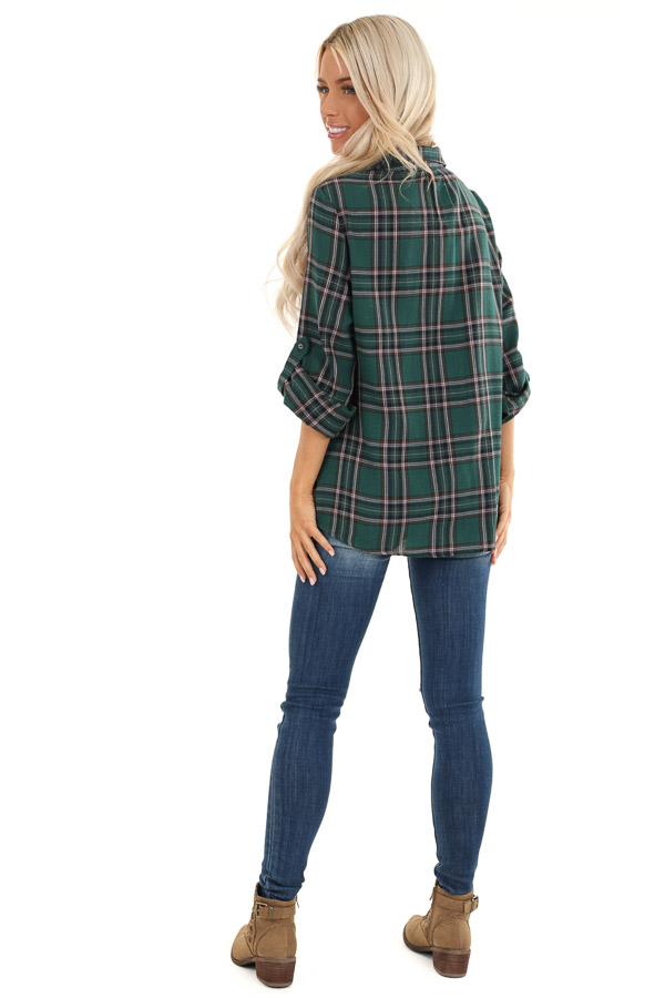 Forest Green Button Up Plaid Flannel with Twisted Hemline back full body