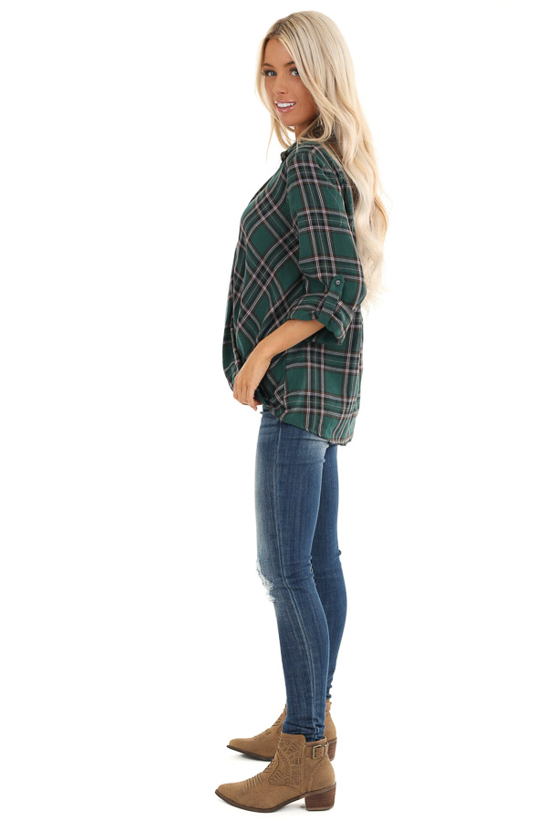 Forest Green Button Up Plaid Flannel with Twisted Hemline side full body