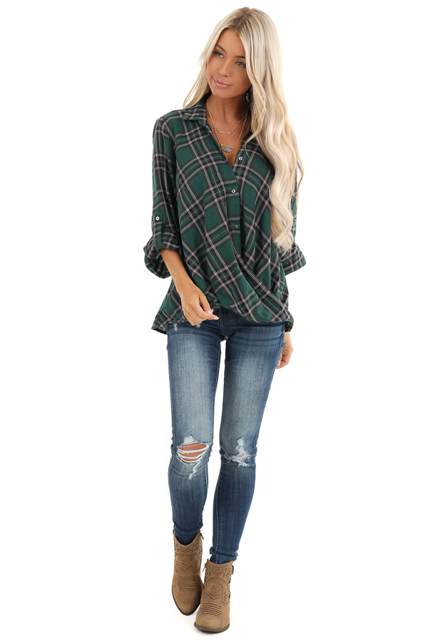 Forest Green Button Up Plaid Flannel with Twisted Hemline front full body