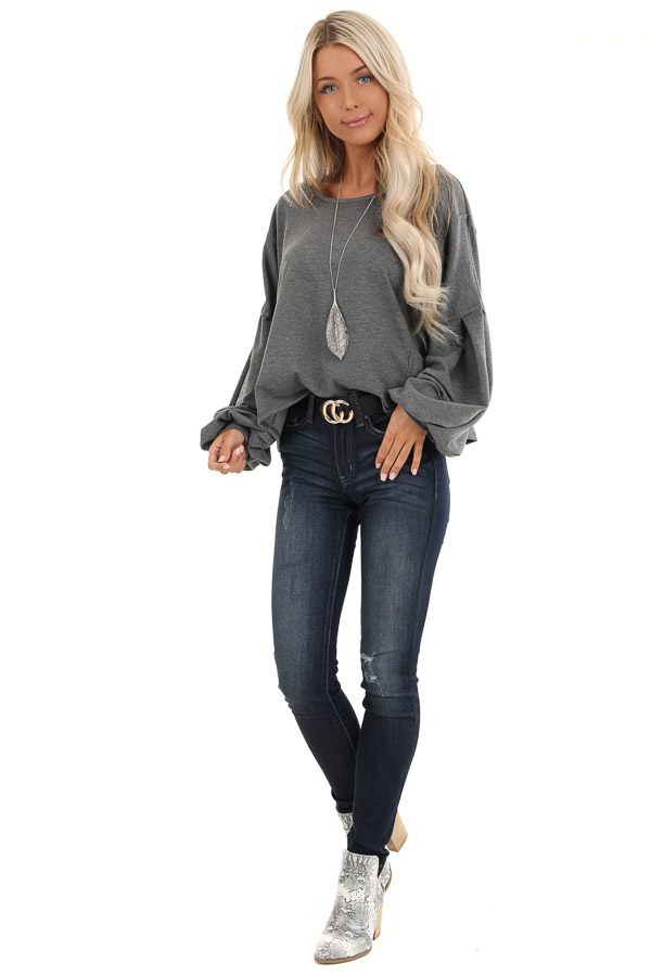 Charcoal Bubble Sleeve Top with Criss Cross Back Detail front full body