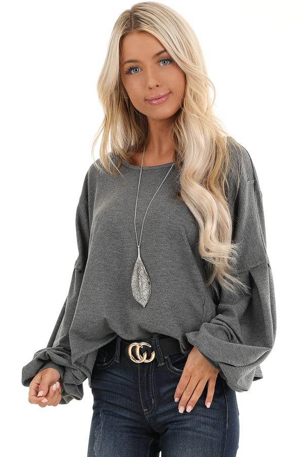 Charcoal Bubble Sleeve Top with Criss Cross Back Detail front close up