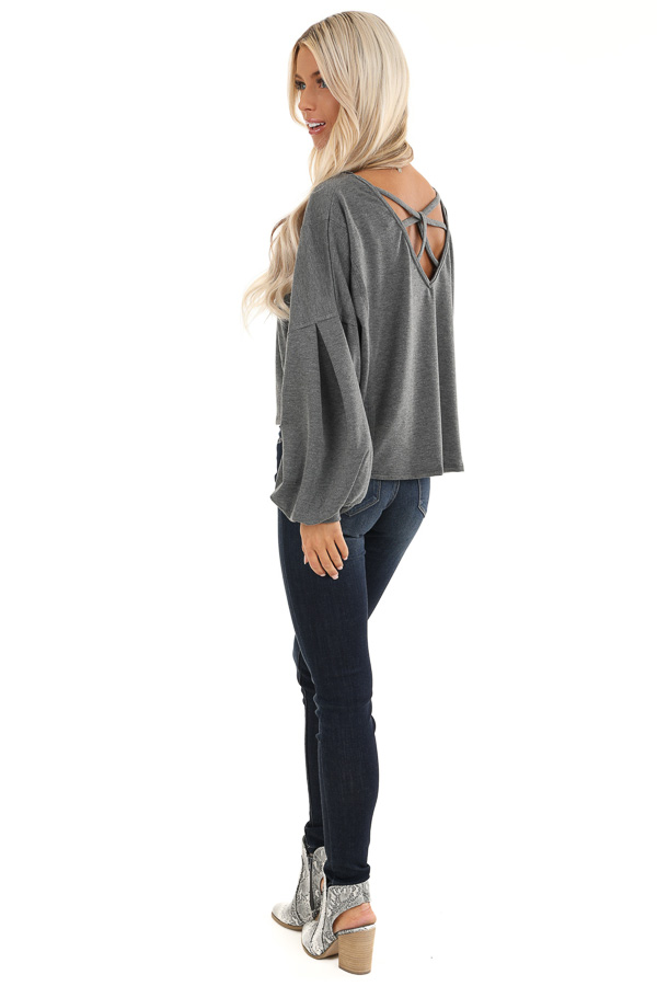 Charcoal Bubble Sleeve Top with Criss Cross Back Detail side full body
