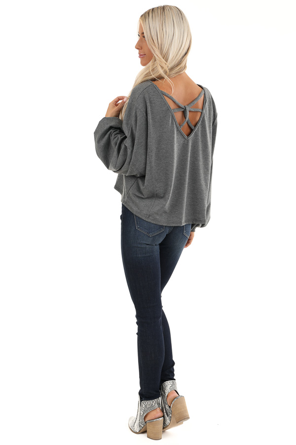 Charcoal Bubble Sleeve Top with Criss Cross Back Detail back full body
