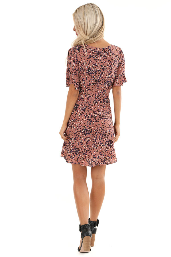 Dusty Mauve Mini Dress with Abstract Multicolor Details back full body