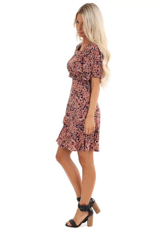 Dusty Mauve Mini Dress with Abstract Multicolor Details side full body