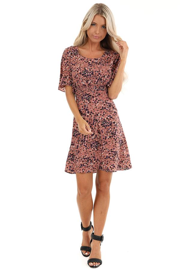 Dusty Mauve Mini Dress with Abstract Multicolor Details front full body