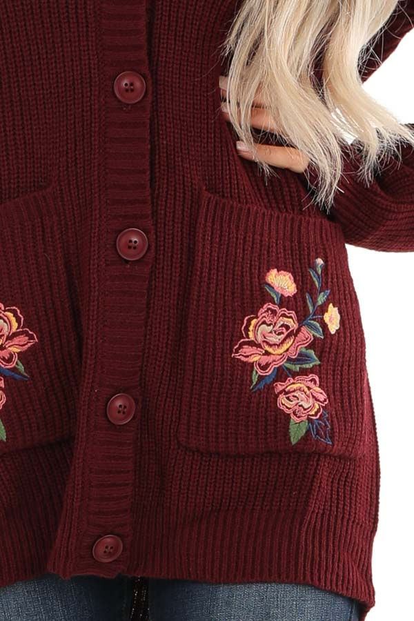 Maroon Knit Cardigan with Embroidered Floral Pattern detail