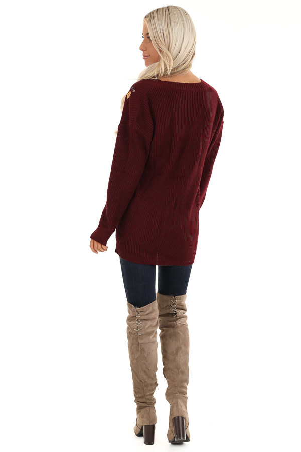 Maroon Knit Cardigan with Embroidered Floral Pattern back full body