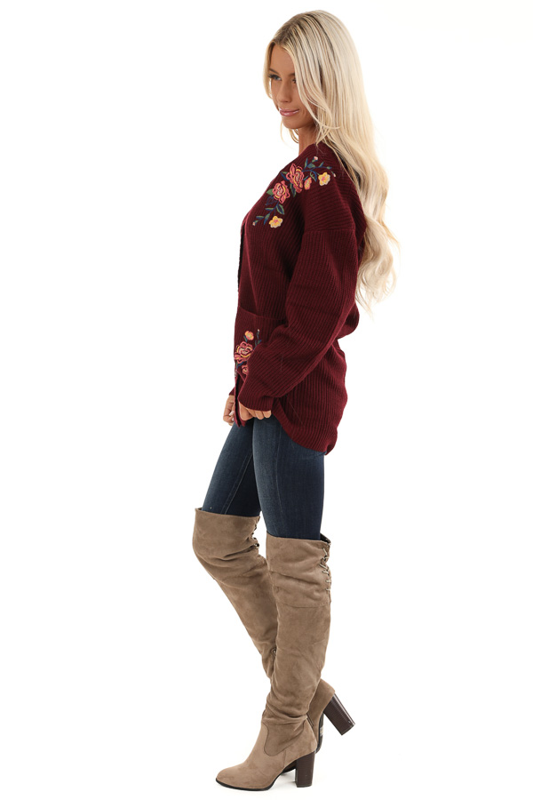 Maroon Knit Cardigan with Embroidered Floral Pattern side full body