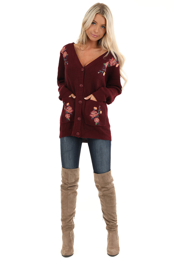 Maroon Knit Cardigan with Embroidered Floral Pattern front full body