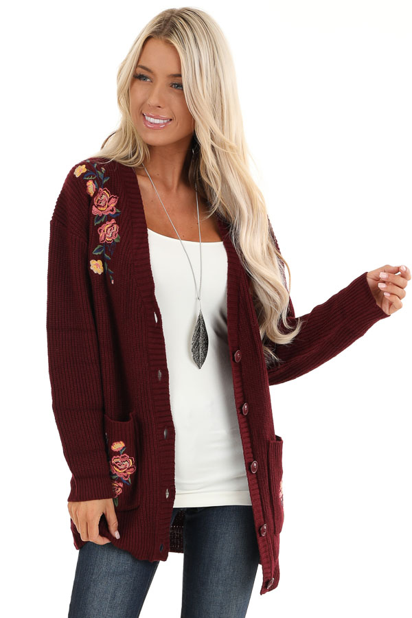 Maroon Knit Cardigan with Embroidered Floral Pattern front close up