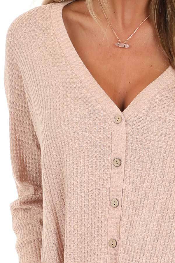Latte Button Up Waffle Knit Top with V Neck detail