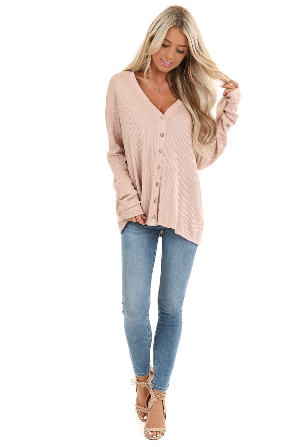 Latte Button Up Waffle Knit Top with V Neck front full body