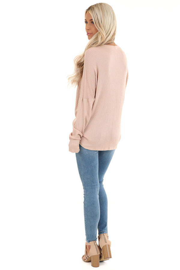Latte Button Up Waffle Knit Top with V Neck back full body