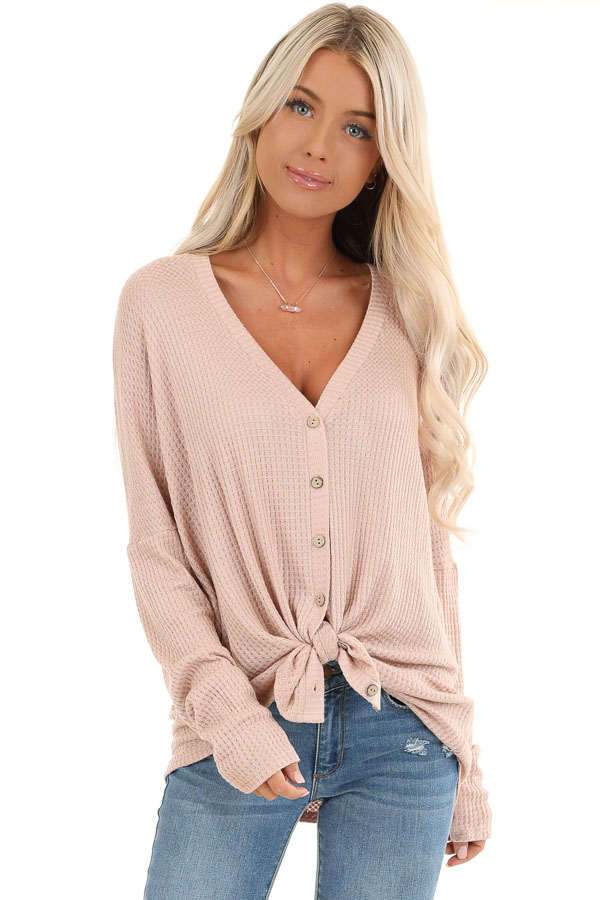 Latte Button Up Waffle Knit Top with V Neck front close up