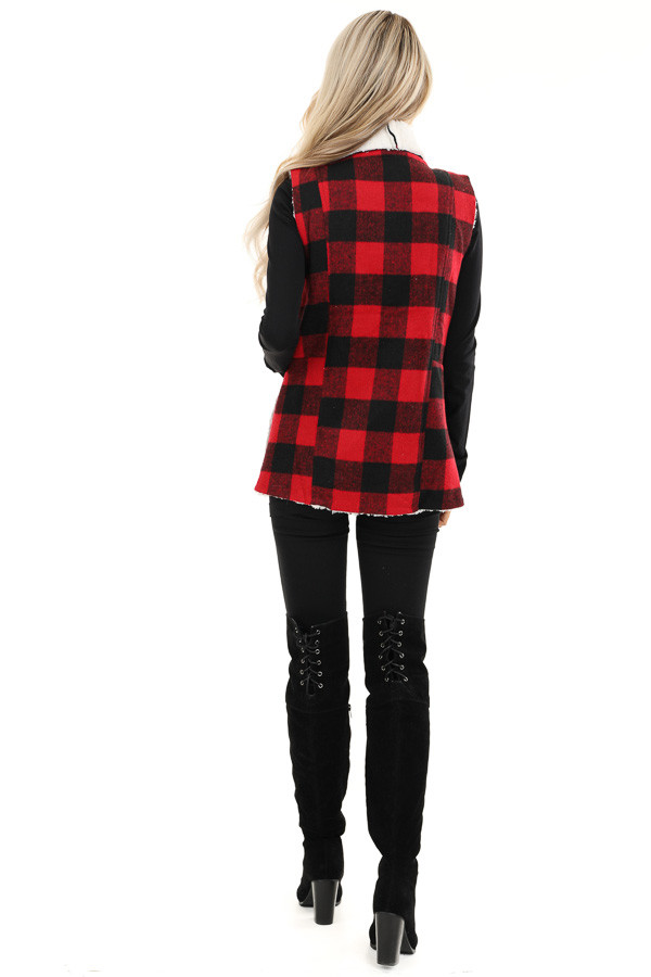 Buffalo Plaid Vest with Shearling Lining back full body