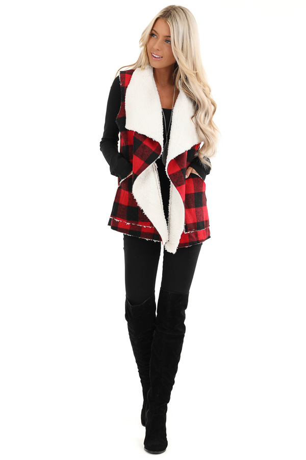 Buffalo Plaid Vest with Shearling Lining front full body
