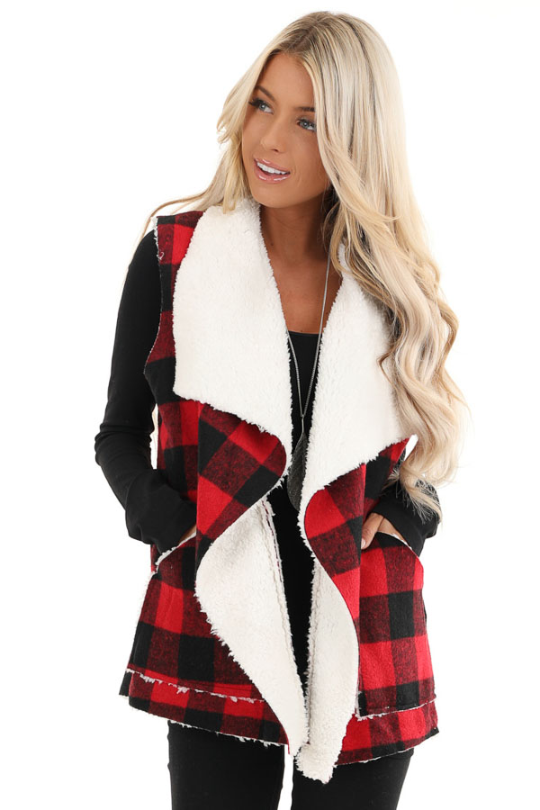 Buffalo Plaid Vest with Shearling Lining front close up