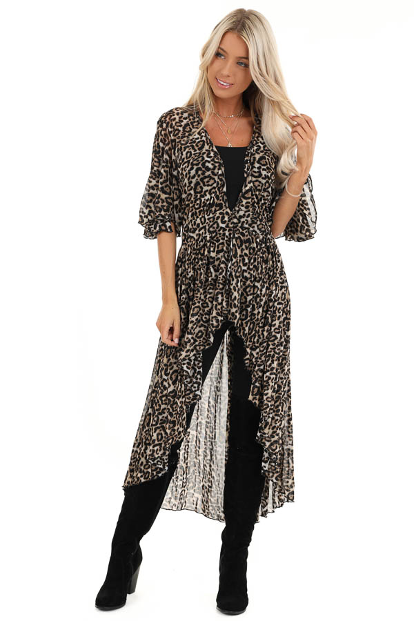 Mocha Leopard Print Kimono with Front Button Closure front full body