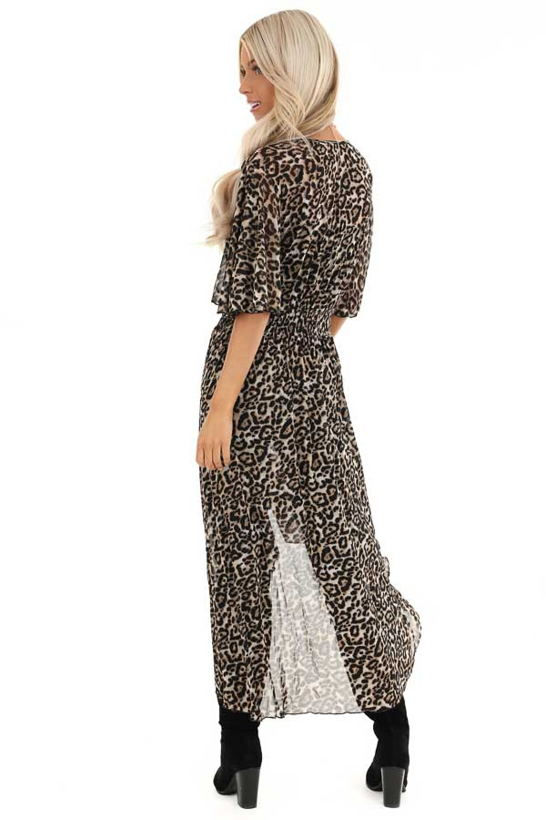 Mocha Leopard Print Kimono with Front Button Closure back full body