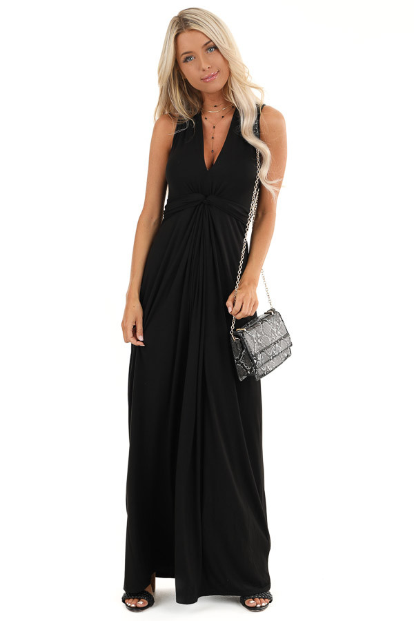 Raven Black Twisted Waist Sleeveless Maxi Dress front full body